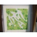 Tifaifai Carre 50cm Oiseau Blanc fond Vert