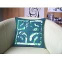 Housse de Coussin Carré 40cm Croix marquisienne Vert foncé fond Vert blanc