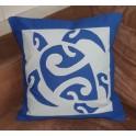 Housse de Coussin Carré 40cm Grande tortue Bleu fond Bleu pastel
