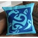 Housse de Coussin Carré 40cm Grande tortue Turquoise fond Bleu