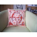 Housse de Coussin Carré 40cm Union Saumon fond Orange