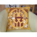 Housse de Coussin Carré 50cm Union Jaune d'or fond Marron