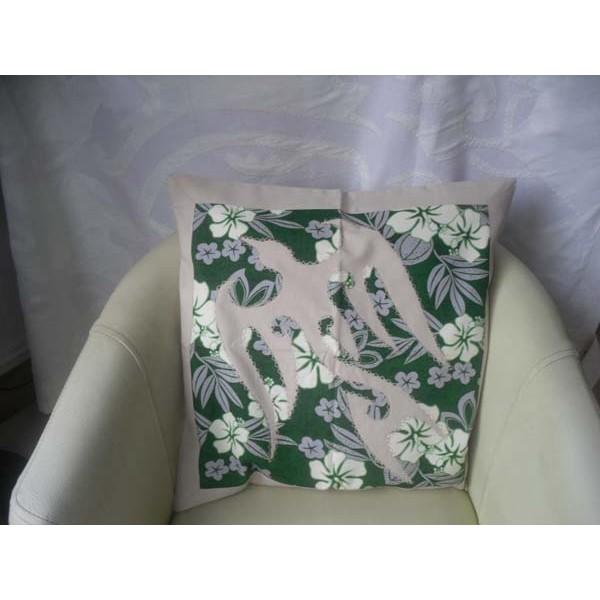 housse de coussin carr 50 cm motif oiseau gris clair imprim hibiscus blanc fleurs et. Black Bedroom Furniture Sets. Home Design Ideas