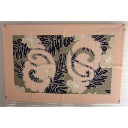 Tifaifai rectangle 40-60cm Coquillages Saumon fond Gris