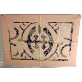 Tifaifai rectangle 40-60cm Union Saumon fond Gris