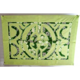 Tifaifai rectangle 40-60cm Union Vert amande fond Vert foncé gris