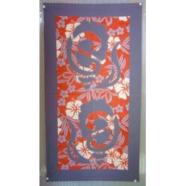 Tifaifai rectangle 40-70cm Coquillages Gris foncé fond Orange