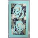 Tifaifai rectangle 40-70cm Coquillages Vert lagon fond Gris