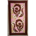 Tifaifai rectangle 40-70cm Coquillages Marron fond Rose