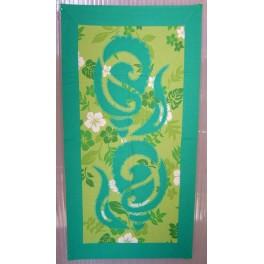 Tifaifai rectangle 40-70cm Coquillages Vert émeraude fond Vert