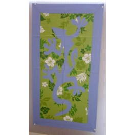 Tifaifai rectangle 40-70cm Lézard Bleu ciel fond Vert
