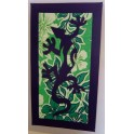 Tifaifai rectangle 40-70cm Lézard Bleu marine fond Vert blanc