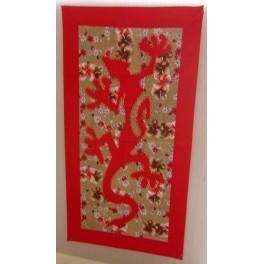 Tifaifai rectangle 40-70cm Lézard Rouge fond Marron rouge