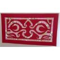 Tifaifai rectangle 40-70cm Tiki Bordeaux fond Rose
