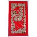 Tifaifai rectangle 40-70cm Tortue-Raie Rouge fond Marron rouge