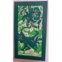 Tifaifai rectangle 40-70cm Tortue-Raie Vert foncé fond Vert blanc
