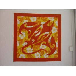 Tifaifai Carre 70cm Raie Orange fond Jaune orange