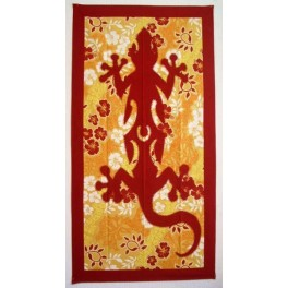 Tifaifai rectangle 60-110cm Lézard Bordeaux fond Jaune orange