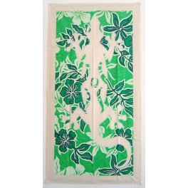 Tifaifai rectangle 60-110cm Lézard Ecru fond Vert blanc