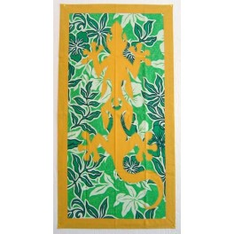 Tifaifai rectangle 60-110cm Lézard Jaune d'or fond Vert blanc