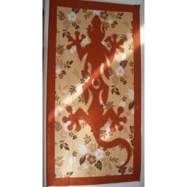 Tifaifai rectangle 60-110cm Lézard Rouille fond Saumon