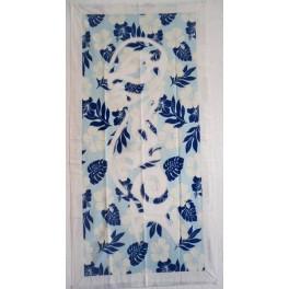 Tifaifai rectangle 60-110cm Tiki Blanc fond Bleu ciel