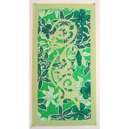 Tifaifai rectangle 60-110cm Tiki Vert amande fond Vert blanc