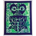 Tifaifai rectangle 70-85cm Tiki Bleu marine fond Vert blanc