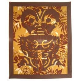Tifaifai rectangle 70-85cm Tiki Marron fond Moutarde