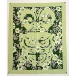 Tifaifai rectangle 70-85cm Tiki Vert amande fond Vert foncé