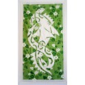 Tifaifai rectangle 70-120cm Requin marteau Blanc fond Vert