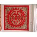 Tifaifai Carre 90cm Soleil Union Rouge fond Marron rouge