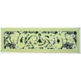 Tifaifai rectangle 35-125cm Coquillages Vert amande fond Vert foncé gris