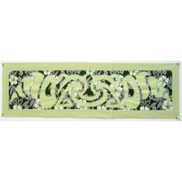 Tifaifai rectangle 35-125cm Coquillages Vert amande fond Vert foncé gris