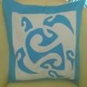 Housse de Coussin Carré 40cm Grande tortue Bleu turquoise fond Bleu pastel