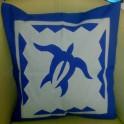Housse de Coussin Carré 40cm Tortue Bleu fond Bleu pastel