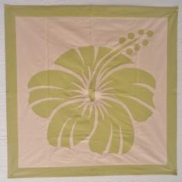Tifaifai Carre 80cm Hibiscus Vert anis fond Saumon