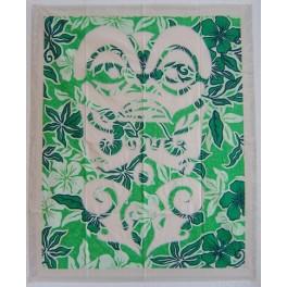 Tifaifai rectangle 90-110cm Tiki Ecru fond Vert blanc