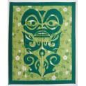 Couvre-lits patchwork Tiki protecteur vert - tenture ou rideaux