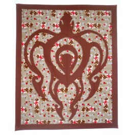 Tifaifai rectangle 90-110cm Tortue Chocolat fond Marron rouge