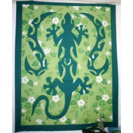 Tifaifai rectangle 90-110cm Lézard Vert foncé fond Vert