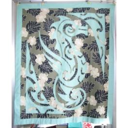 Couvre-lit gris, dessus de lit, tenture - Patchwork Hippocampe vert
