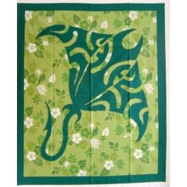 Tifaifai rectangle 90-110cm Raie Vert foncé fond Vert