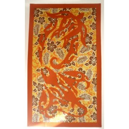Tifaifai rectangle 80-130cm Raie Tortue Rouille fond Jaune marron