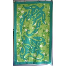 Tifaifai rectangle 80-130cm Raie Tortue Vert émeraude fond Vert