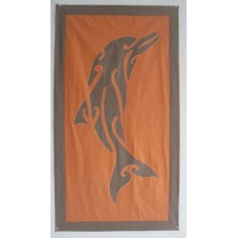 Tifaifai rectangle 60-110cm Dauphin Gris taupe fond Corail