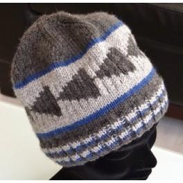 Bonnet taille M Pointe de flèche Gris foncé fond Gris trait Bleu