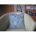 Housse de Coussin Carré 40cm Croix marquisienne Bleu ciel fond Vert