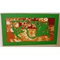 Tifaifai rectangle 40-70cm Tortue-Raie Vert fond Marron