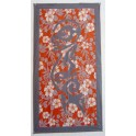 Tifaifai rectangle 60-110cm Tiki Gris foncé fond Orange